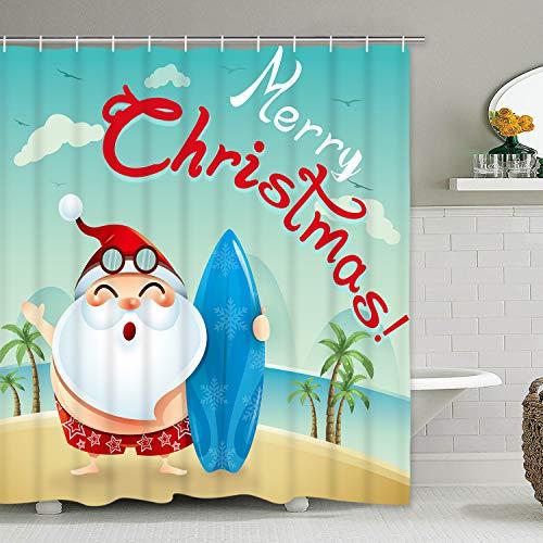 Krelymics Merry Christmas Duschvorhang mit 12 Haken Weihnachtsmann Strand Kokosnussbaum Duschvorhang Set wasserdichte Badezimmer Duschvorhänge für Weihnachten Dekoration 70