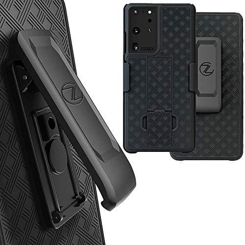 Galaxy S21 Ultra Holster Case, ZASE Belt Clip Case for Samsung S21 Ultra 5G 6.8-inch Tough Rugged Armor Super Slim Protective Cover Defender Strong Belt Clip [Kickstand] (Black Holster Combo Case)