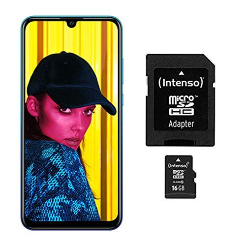 Huawei P smart 2019 BUNDLE (Dual-Sim Smartphone, 15,77 cm (6,21 Zoll), 64GB interner Speicher, 3GB RAM, Android 9.0) Aurora Blue + gratis 16 GB Speicherkarte [Exklusiv bei Amazon] - 2