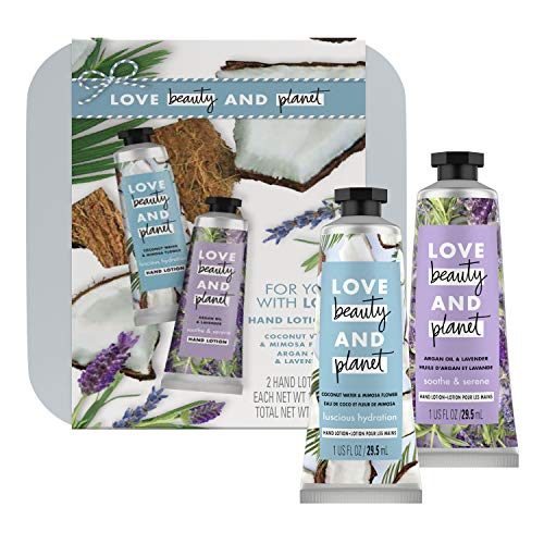 Love Beauty And Planet Hand Lotion Gift Set Coconut Water Mimosa + Lavender Argan Oil Vegan, Certified Cruelty Free, No Parabens, Sulfate Free 2 Count