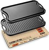 NutriChef PFOA & PFOS Free Horno seguro Plancha Plancha Plancha de hierro fundido reversible placa parrilla con raspador para estufa eléctrica, cerámica, inducción NCCIRG64