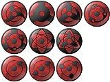 Naruto Sharingan Design Pinback Buttons Badges/Pin 1 Inch (25mm) Set of 10 New