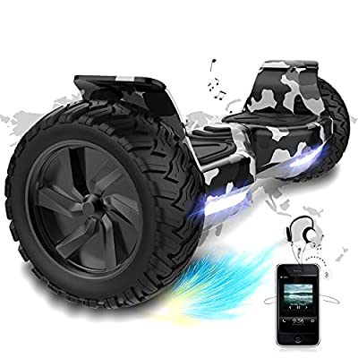 COLORWAY Self Balancing Scooter Hoverboard 8.5'' All Terrain - Segway Electric Scooter Off-Road - Bluetooth Speaker & LED lights and Powerful Motor Gift for kids and adults