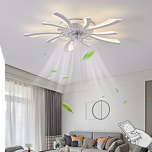 VOMI LED Ventilador Techo con Luz, Movil APP y Mando a Distancia Plafon Lampara Velocidad del Viento Ajustable 100W Regulable Iluminación De Techo con Ventilador para Salón Dormitorio Comedor Oficina
