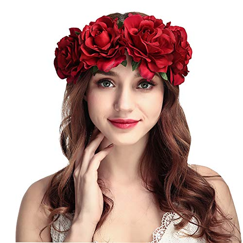 Rose Flower Crown Garland Hair Wreath Wedding Floral Headband Boho Headpiece Headdress Halloween Bride Costume Accessory Fancy Dress for Gothic Party Christmas Masquerade Hen Party Day of The Dead