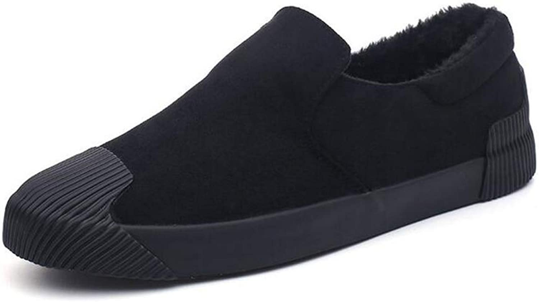ZHRUI Mens Winter shoes Fashion Warm Casual Plush Sneakers Outdoor Work Casual Flats (color   Black, Size   7=41 EU)