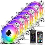 EZDIY-FAB Moonlight Ventilador de Caja RGB 120 mm con concentrador de Ventilador X,Placa Base Aura Sync,Control de Velocidad,Ventilador direccionable para Caja de PC-Blanco 6 Pack