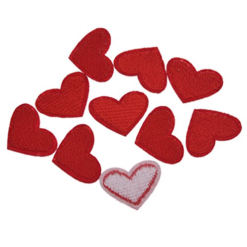 YNuth DIY 10pcs Parches Termoadhesivos Bordados del Diseño de Corazón para Decoración de Ropas Apliques Iron on Patch Color Rojo
