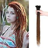 24 inch 100% Handmade Dreadlocks Extensions Fashion Reggae Hair Hip-Hop Style Soft faux locs Crochet Braiding Hair For Women/Men (24Inch 10Pcs, Black&Dark brown)