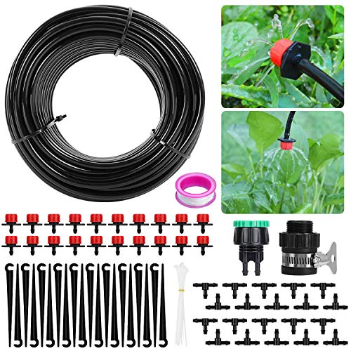 Sistema de riego de jardín, Aiglam Micro Kit de riego por Goteo Riego automático Rociadores automáticos Kit de riego por Goteo Riego de jardín para Jardines, Macizo de Flores, Plantas de Patio (62pcs)