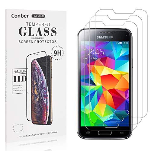 Conber [3 Stück] Displayschutzfolie kompatibel mit Samsung Galaxy S5 Mini, Panzerglas Schutzfolie für Samsung Galaxy S5 Mini [9H Härte][Hüllenfreundlich]