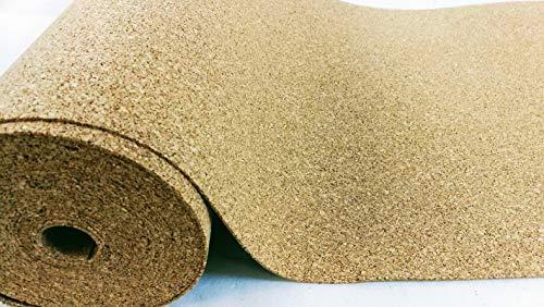 Rollo de corcho de 4 mm de grosor, 5 m² (5 x 1 m) / Base aislante, debajo de parqué, laminado y moqueta, papel aislante térmico, aumenta la comodidad al caminar.