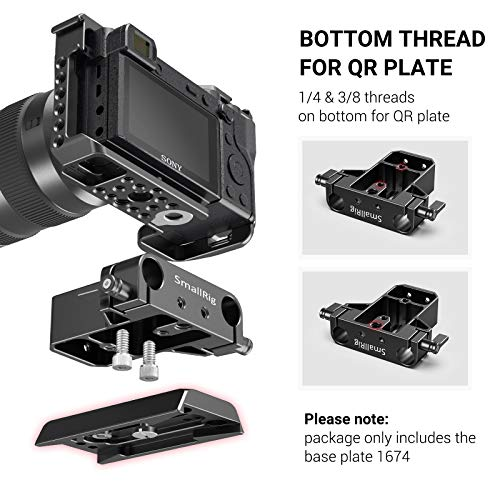SMALLRIG Camera Base Plate with Rod Rail Clamp for Sony A6500 A6600, for Panasonic GH5, Sony A7 Series, etc, Both for Cameras & Cages -1674