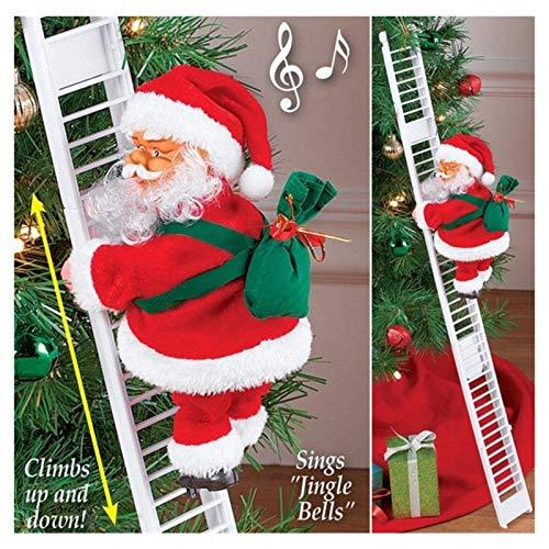 Animated Climbing Santa, Climbing Santa Claus, Electric Climbing Ladder Santa Claus, 50cm Creative Christmas Tree Hanging Plush Ornament for Xmas Party Home Door Wall Decoration (A)