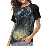 Kmehsv Camiseta de Manga Corta de Mujer, Demons & Wizards Woman'S Women's Baseball Short Sleeves Loose Short Sleeve Loose Men's Baseball T-Shirt