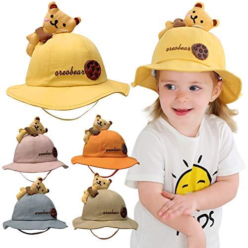 VESNIBA Sombrero de pescador para bebé, 100 % algodón, para verano, con correa para la barbilla. Rosa. 46-48