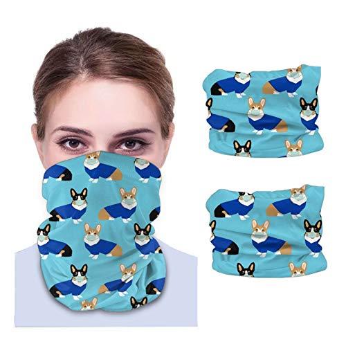 GSNWFG Corgi Scrubs Gesichtshandtücher für Erwachsene, atmungsaktiv, Anti-Staub, Turban, Hals, Reiten (2 Stück) schwarz