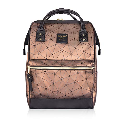 MENGEN School Backpack PU Leather Laptop Backpack Bookbags 15.6 inches Laptop Work Travel Doctor Bag School Backpack for Women & Men (Brown, Large)