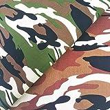 ZAIONE Stoff mit Camouflage-Druck, 100 % Baumwolle, 90 cm,