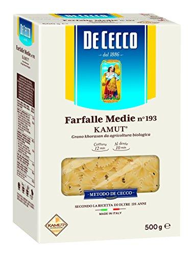 De Cecco Farfalle Medie Pasta Kamut di grano khorasan da agricoltura biologica - 2 pezzi da 500 g [1 kg]