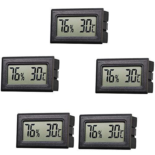 IWILCS 5PCS Mini LCD Digital Thermometer, Hygrometer, Temperatur Luftfeuchtigkeit Tester, Digital Hygrometer Innen für Aquarium, Büro, Autos, Zuhause