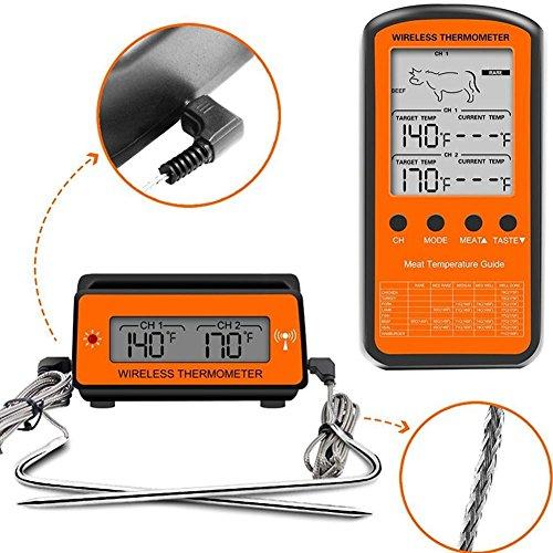 Kabelloses ferngesteuertes Grill-Thermometer, Dual-Sonde, digitales Kochen, Fleisch, Lebensmittel, Ofenthermometer für Grillen, Smoker, BBQ