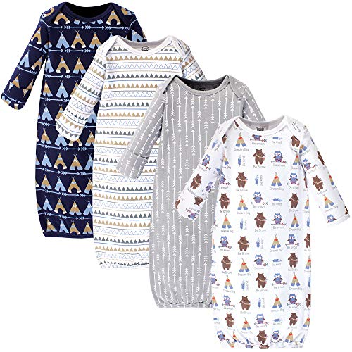 Luvable Friends Unisex Baby Cotton Gowns, Tribe, 0-6 Months