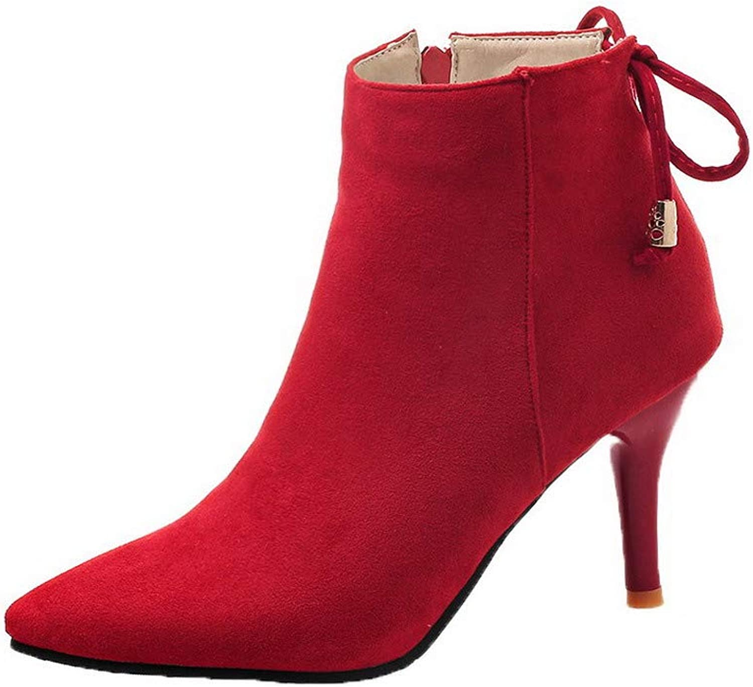 AllhqFashion Women's Solid Imitated Suede High-Heels Zipper Closed-Toe Boots, FBUXD125943