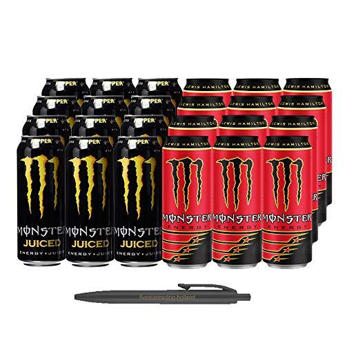 1x12 Monster Ripper Juiced und 1x12 Monster Lewis Hamilton (Insgesamt 24 Einweg-Dosen x 0,5 L) Inkl. Gratis FiveStar Kugelschreiber