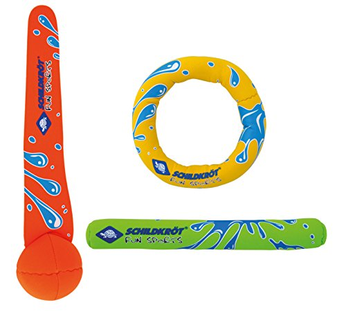 Schildkröt Neopren Diving Set, 3-teiliges Tauchset, je 1 Ring, Stab, Ball, Sandfüllung, weich, stehen am Grund, 970217