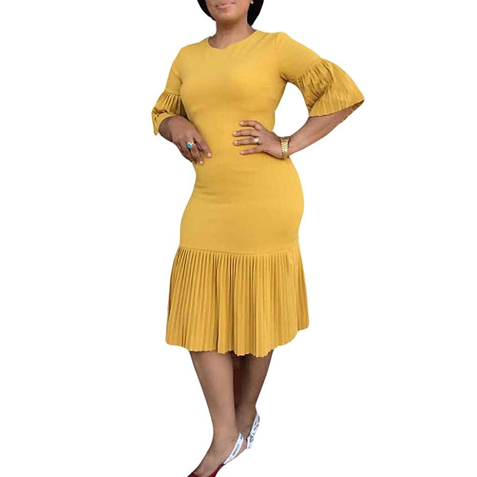 soAR9opeoF Plus Size Party Elegant Dress, Women Solid Color Pleated Half Sleeve Bodycon Midi Dress(M-2XL) Yellow M