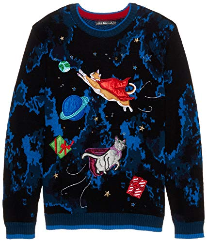 Blizzard Bay Men's Ugly Christmas Sweater Light UP, Black, XX-Large