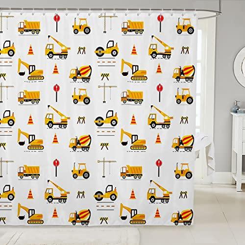 Loussiesd Kinder Karikatur Autos Duschvorhang Textil Bagger Traktor Duschvorhang 180x210cm für Jungs Schlafzimmer Dekor Abstrakte Fahrzeuge Kräne Mikrofaser