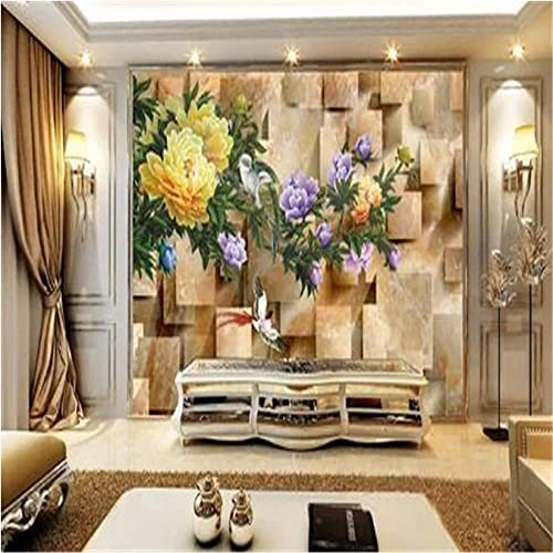 Guyuell Marble Flowers Murals Wallpaper for Walls 3D Birds Wall Papers for Living Room Home Decor Deep Embossed 3D Murals Chinese Style-200X140Cm