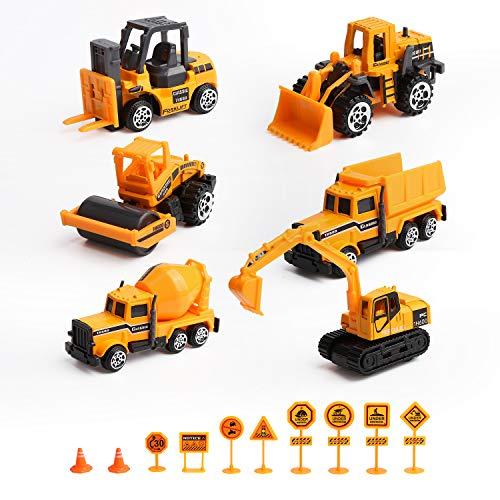 Mitening Baufahrzeuge Set, Bagger Lastwagen Spielzeugautos Modelle Autos Baustelle Spielzeug Fahrzeugeset Mini Cars...