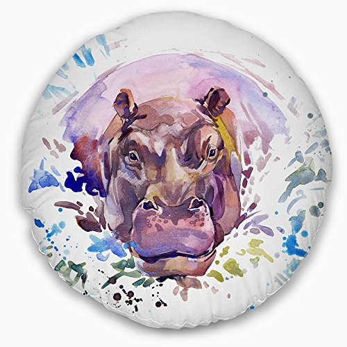 Throw cushion pillow cover with hippo prints