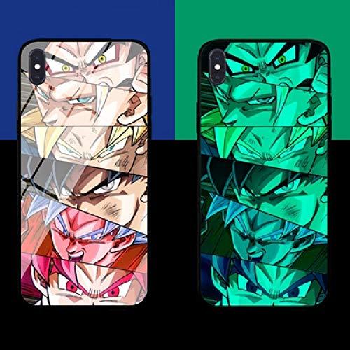 Anime Resplandor de la Noche Funda para Teléfono Funda Protectora para iPhone con Cordón Dragon Ball Película Templada de Vidrio Antifricción (Compatible con iPhone 6S Plus)