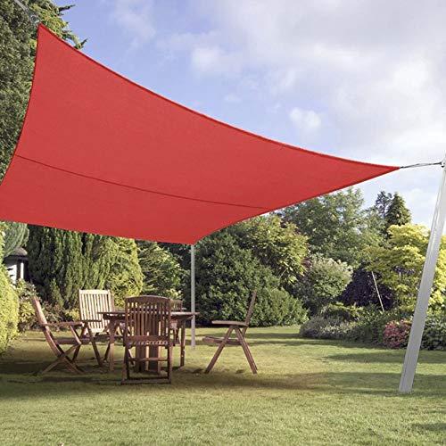 LONGSAND Parasol Rectangular Vela Toldo Impermeable Pantalla de Sombra de Bloque UV para Hamaca Piscina Toldo de Tela Oxford al Aire Libre, Tamaño Completo,Rojo,4mx5m
