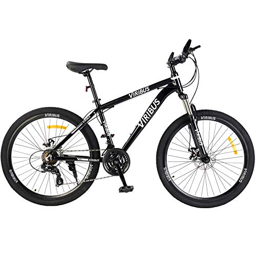 "Viribus Adult Mountain Bike with 26 Inch Wheel Derailleur Lightweight Sturdy Aluminum Frame Bicycle with Dual Disc Brakes Front Suspension Fork for Men (Dark, 26""/24-Speed)"