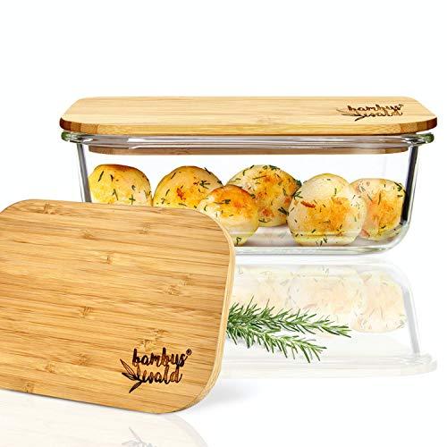 bambuswald© Frischhaltedose aus Glas mit 1040ml - Glasbehälter mit Deckel aus ökologischen Bambus - Glasschale Backofen geeignet - Glasschüssel Glasdose Vorratsdosen
