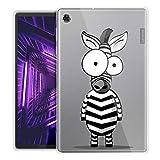 ZhuoFan Funda para Lenovo Tab M10, Case Carcasa Silicona Gel TPU Transparente con Dibujos Antigolpes Smart Cover Piel de Protector Ligera Tableta para Tab M10 TB-X605F TB-X505F 10,1', Cebra