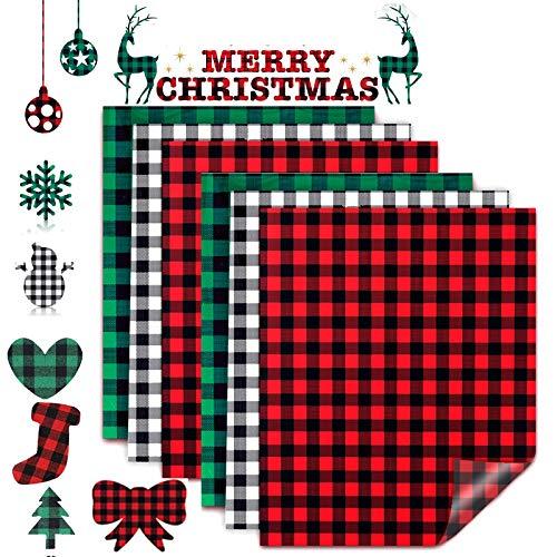 MWOOOT 6 Feuilles Transfert Thermocollant de Noël Buffalo Plaid, Autocollant de Patch Ecusson pour Transfert Tissus Vêtements, Vertes Rouge Noir Stickers Appliqués Chaleur T-shirt Jeans Sacs 25X30CM