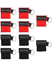 Homealexa Máscara de respiración asistida, CPR, Llavero, 10 Unidades, con válvula antirretorno, respiración Barrera – 5 Negro + 5 Rojo