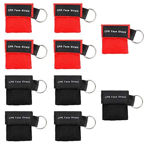 MojiDecor Beatmungsmaske, CPR Maske Schlüsselanhänger 10 Stücke Beatmungstuch mit Rückschlagventil Atmen Barriere - 5 Schwarz + 5 Rot
