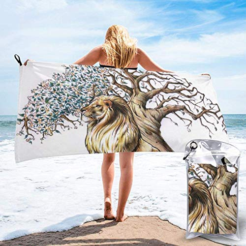 Toallas de Playa de Antiarena de Microfibra para Hombre Mujer, 130x80cm, Toallas Baño Calidad Gigante Secado Rapido para Piscina, Manta Playa, Toalla Yoga Deporte Gimnasio,León de árbol