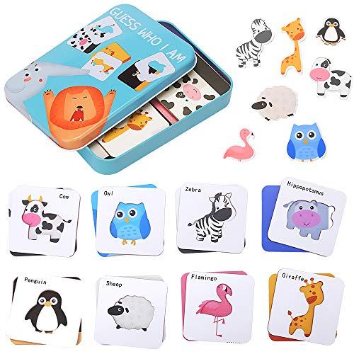 Puzzles de Madera para Niños, Guess Who I Am Juguetes Montessori Educativos, Juguetes de Aprendizaje Temprano Set Regalo con Caja de Almacenamiento (Animal)