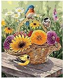 AQAAQ Puzzle Jigsaw Puzzle Pädagogisches Stressfreisetzung1000 Teile Erwachsene Puzzle Klassisches Holzpuzzles Blumenkorb Vogeltier Kinder Geschenke