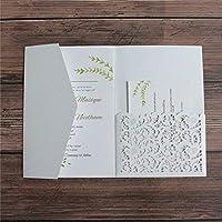 封筒付きの結婚式の招待状は、ブルーバーガンディグリーンを印刷するように招待します50ピース-白_空白_穴_セット