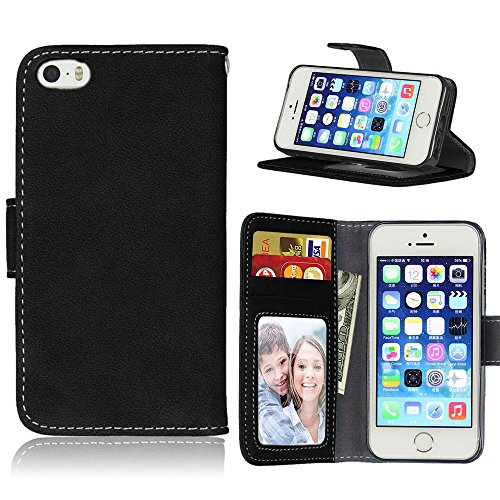 Zl One Matting PU Leather Protection 3 Card Slots Wallet Flip Case Cover for Apple iPhone 5 5S SE iPhone5 (Black)