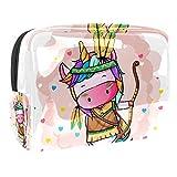 Bolsa de Maquillaje para niños Tribu Unicornio Lindo Accesorio de Viaje Neceser Pequeño Bolsas de Aseo Impermeable Cosmético Organizadores de Viaje 18.5x7.5x13cm